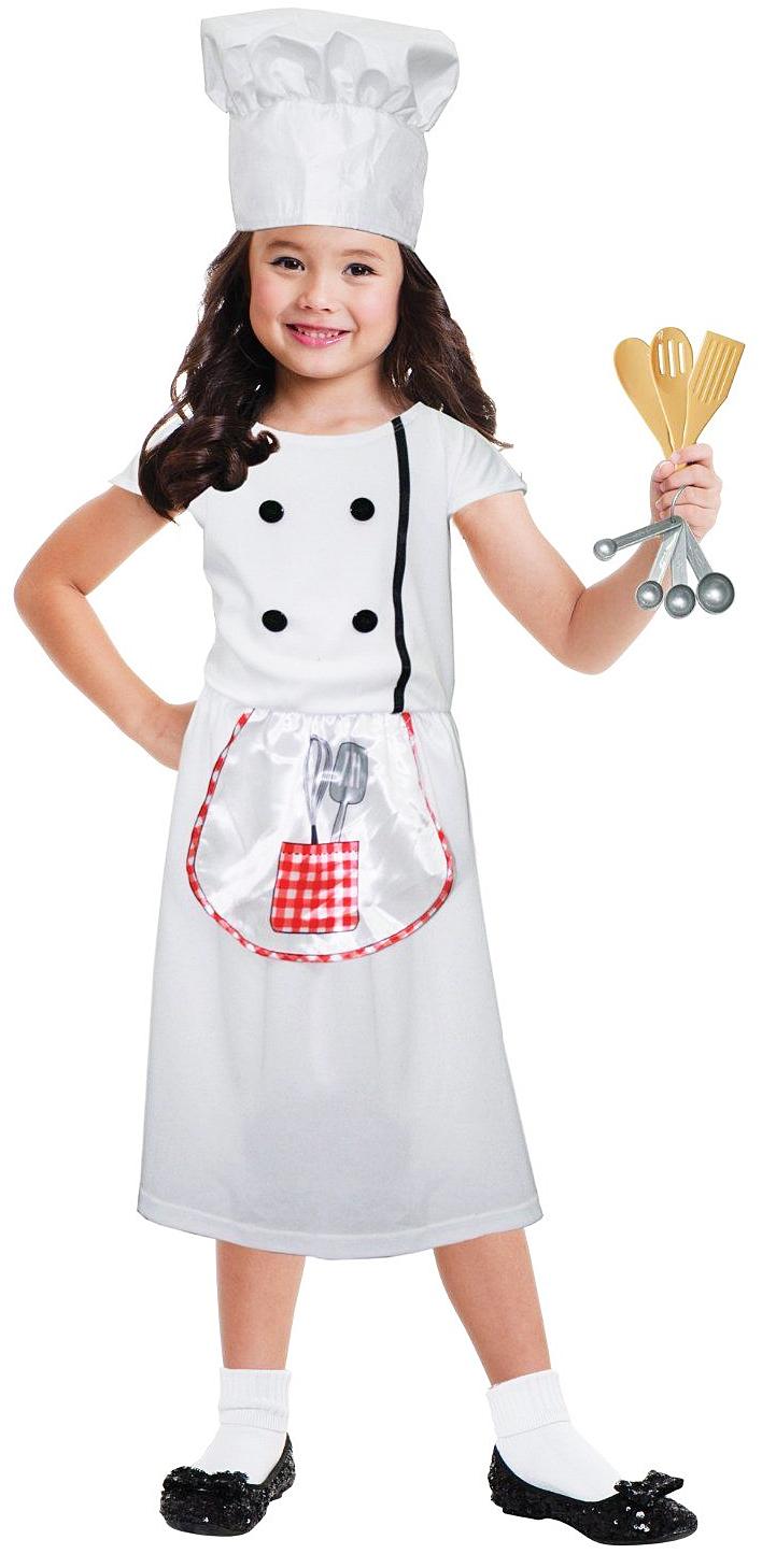 kitchen chef hat girls fancy dress cooking class book week childs kids costume. Black Bedroom Furniture Sets. Home Design Ideas