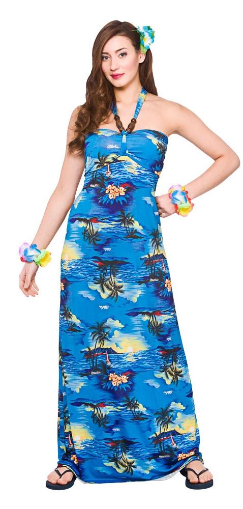 Hawaiian Maxi Blue Palm Ladies Costume