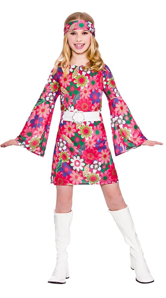 retro gogo girl 60s 70s childs hippy fancy dress kids