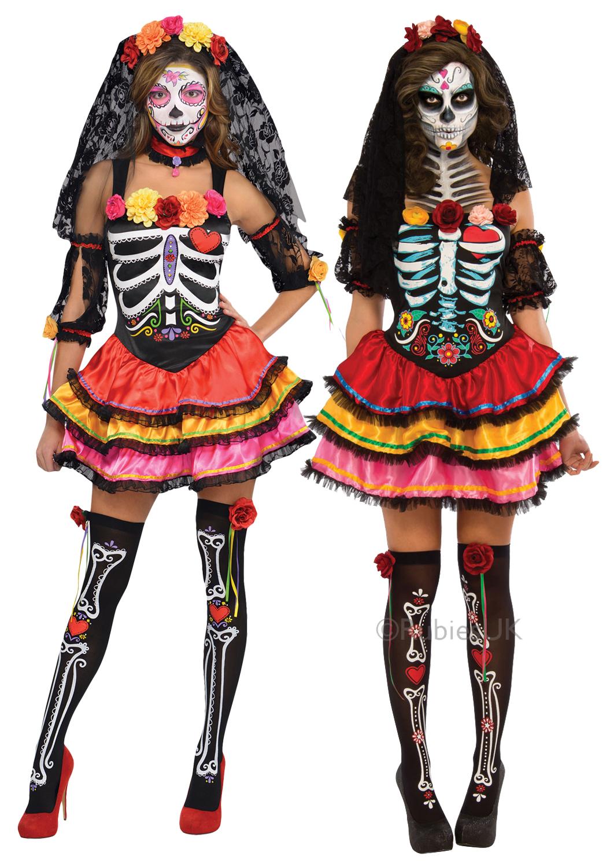 day of the dead senorita ladies fancy dress halloween skeleton womens costume - Halloween Skeleton