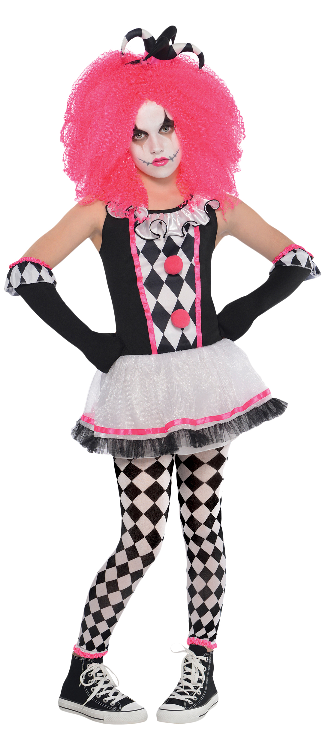 Harlequin Sweetie Clown Girls Fancy Dress Halloween Childs Kids ...