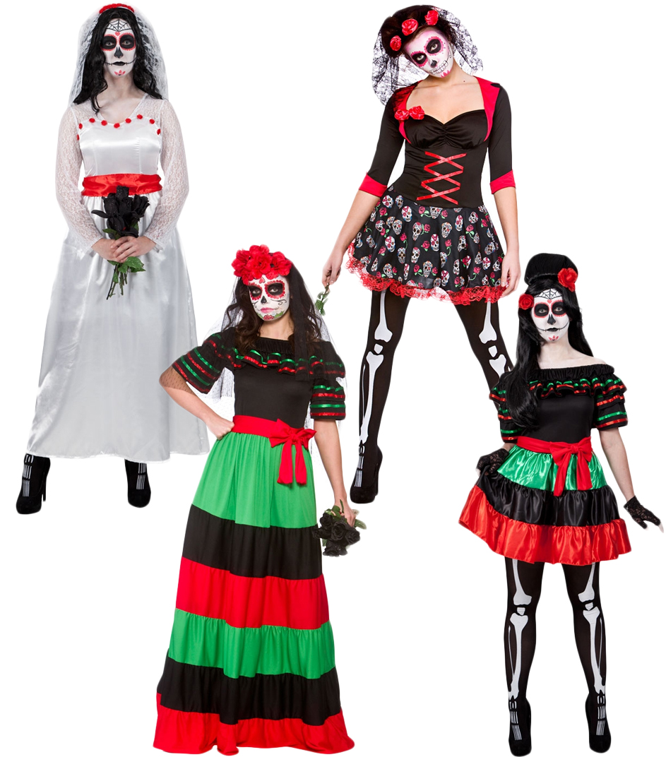 Day of the Dead Ladies Fancy Dress Mexican Undead Adults Womens Costumes Outfits   eBay