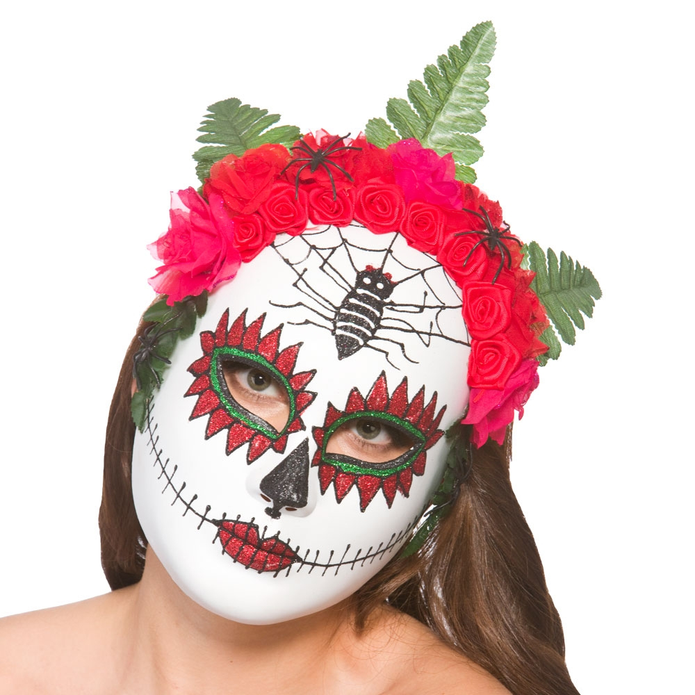 Day of the Dead Masks Fancy Dress Halloween Skeleton Skull Mens ...