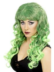 View Item Curly Green Siren Halloween Wig