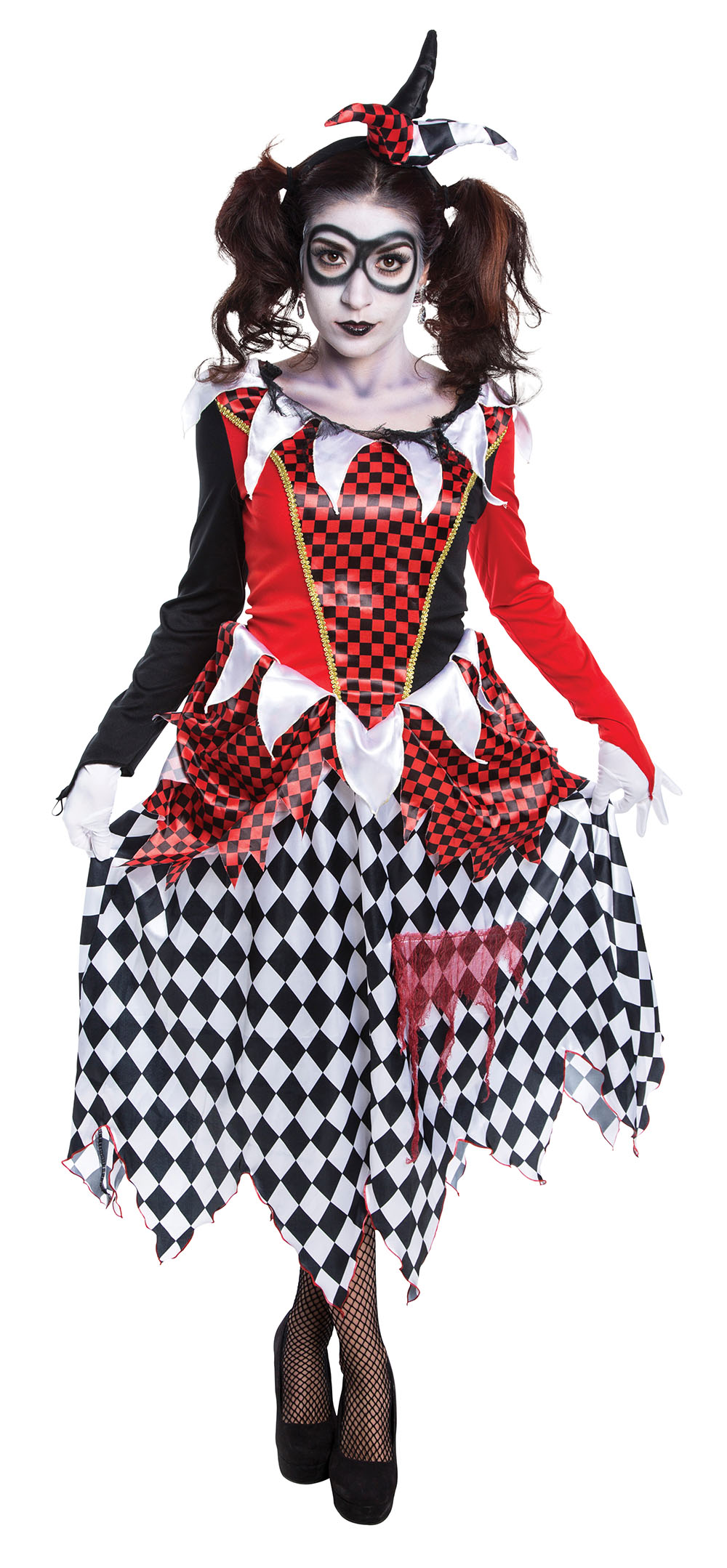 scary harlequin ladies fancy dress halloween horror joker womens adults costume. Black Bedroom Furniture Sets. Home Design Ideas