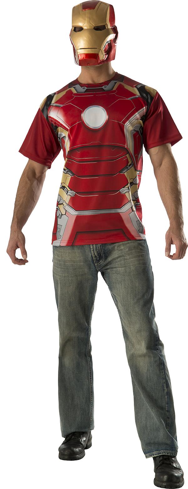 Iron Man + Mask T-Shirt Mens Fancy Dress Avengers ...