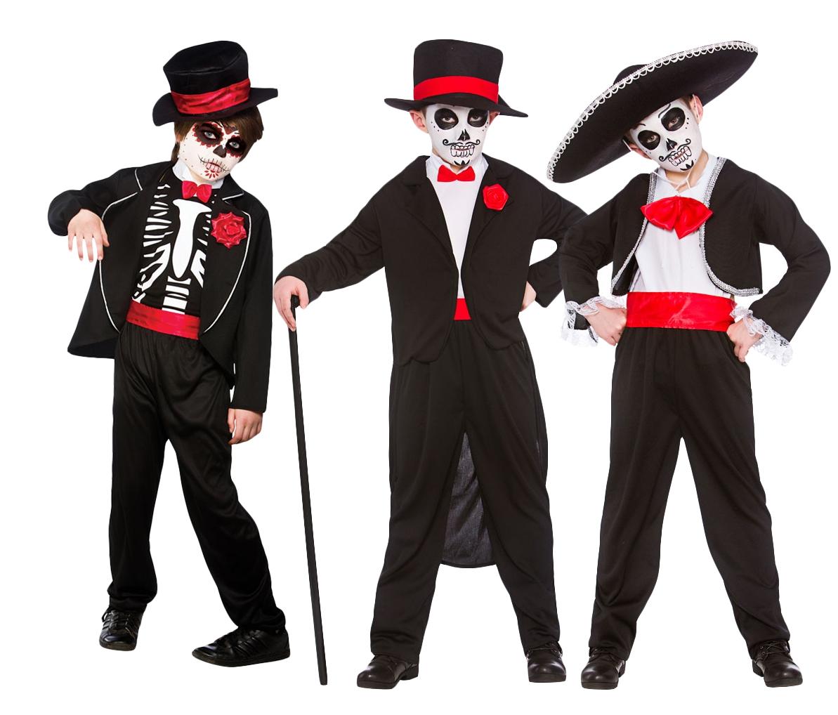 Day of the Dead Boys Fancy Dress Halloween Skeleton Kids Childrens ...