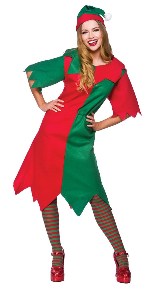 Elf Ladies Fancy Dress Christmas Xmas Santas Helper Womens