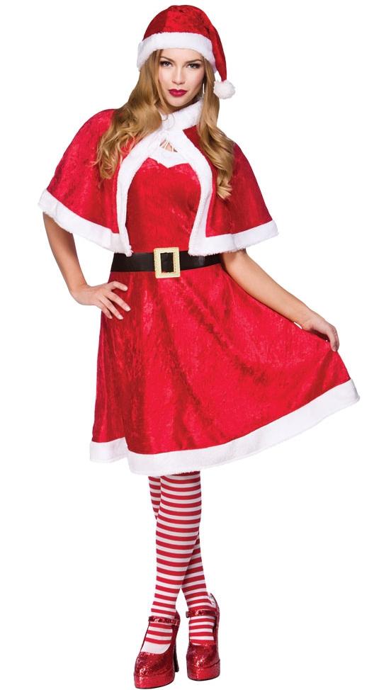 Mrs santa claus tights ladies fancy dress christmas xmas