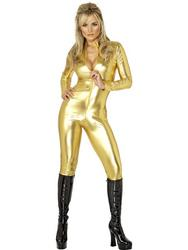 View Item Fever Gold Cat Suit Costume