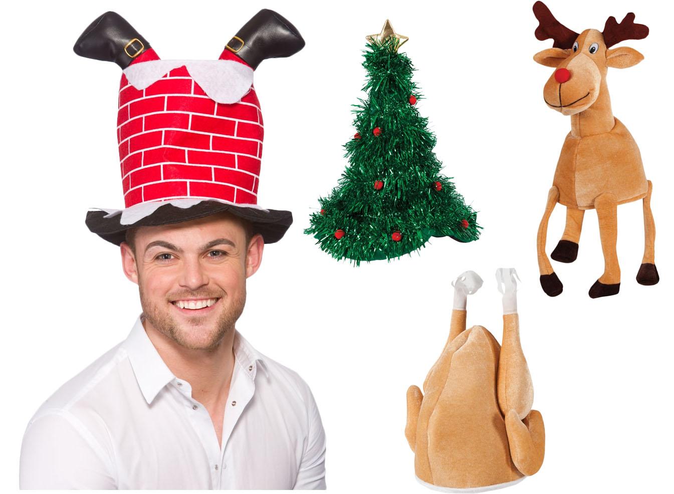 Christmas Hats Adults Fancy Dress X-Mas Festive Mens