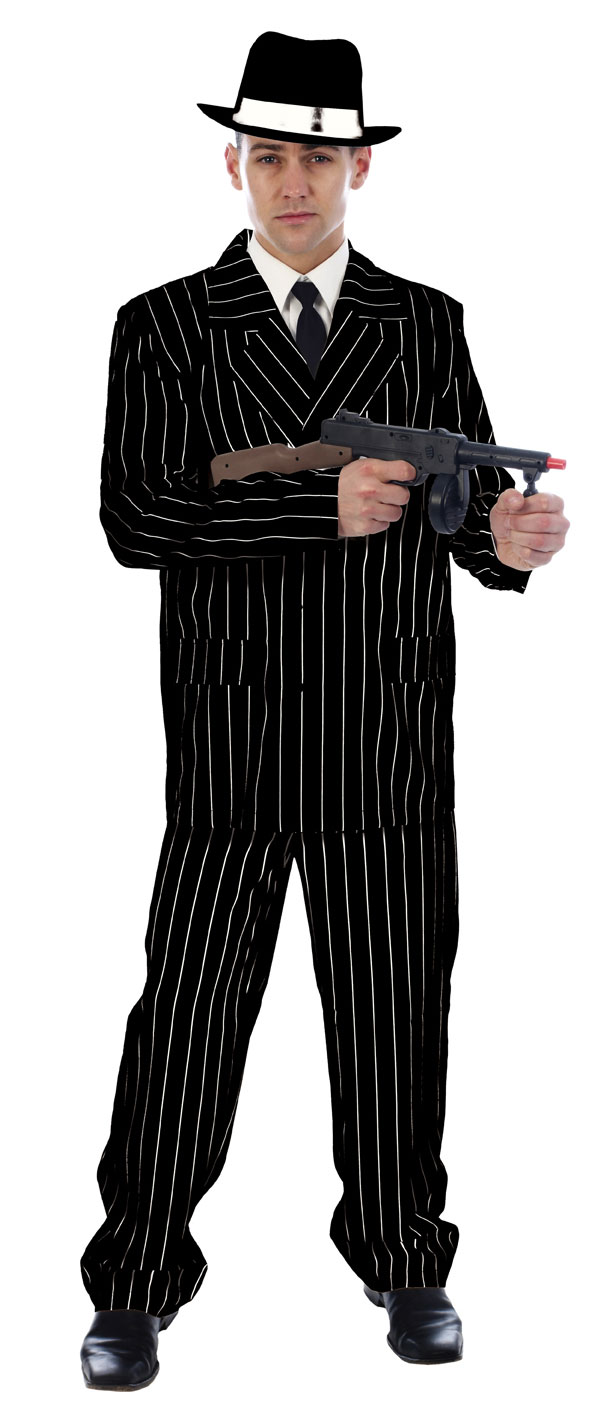 Gangster Black Pinstriped Suit Mens Fancy Dress 1920s Mafia Adult Costume Outfit | eBay