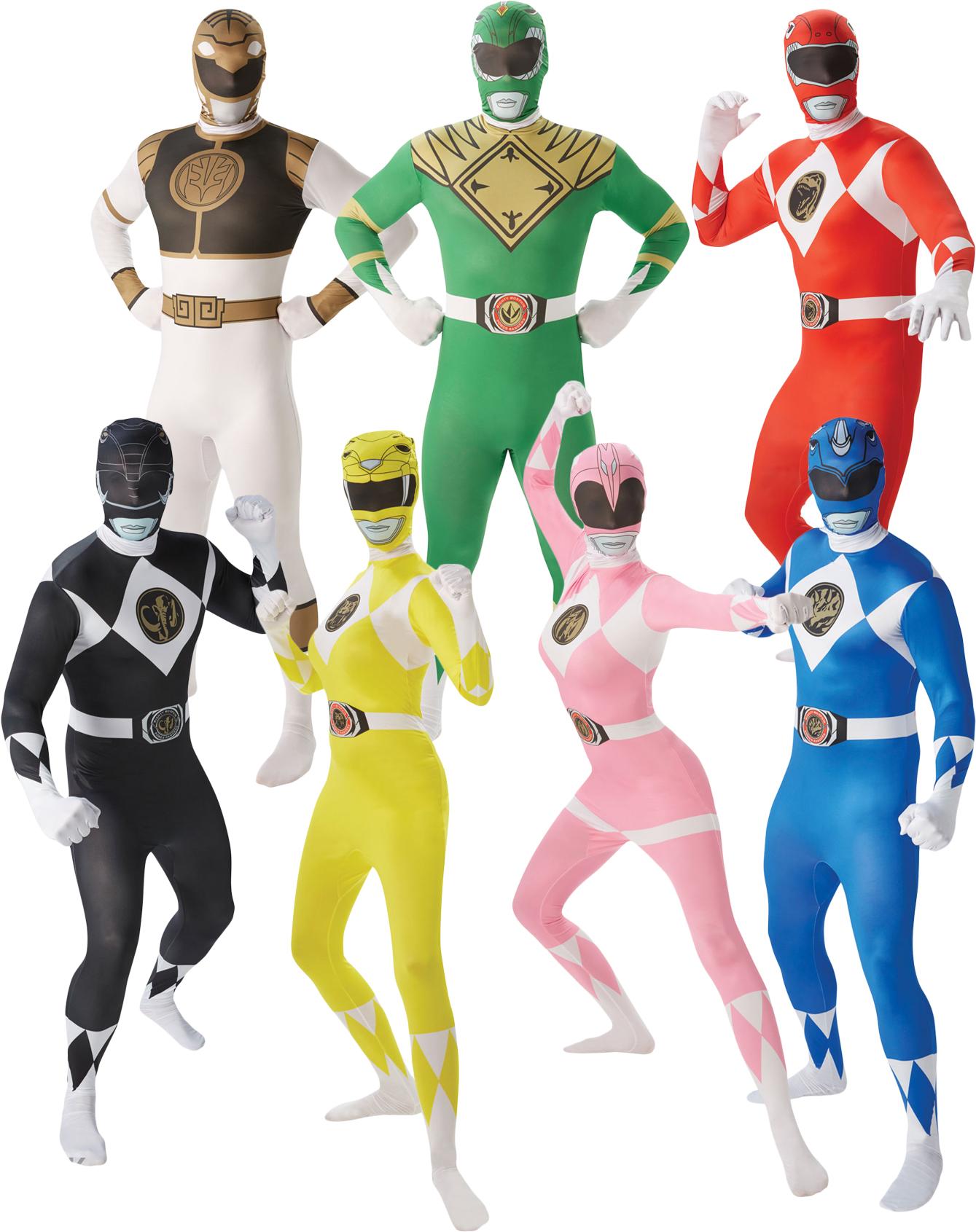Adults Power Rangers Mens Ladies Fancy Dress Superhero Ranger ...