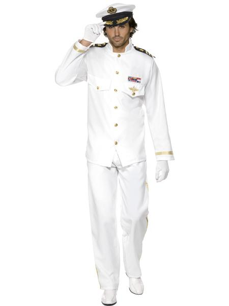 Deluxe-White-Captain-Mens-Fancy-Dress-Uniform-Army-Military-Top-Gun-80s-Costume