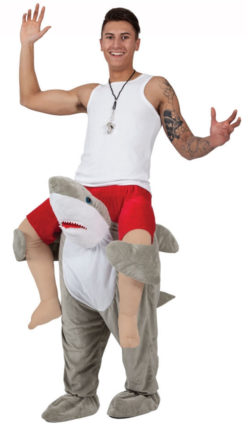 Carry me shark adults fancy dress fish sea animal mens for Fish costume men