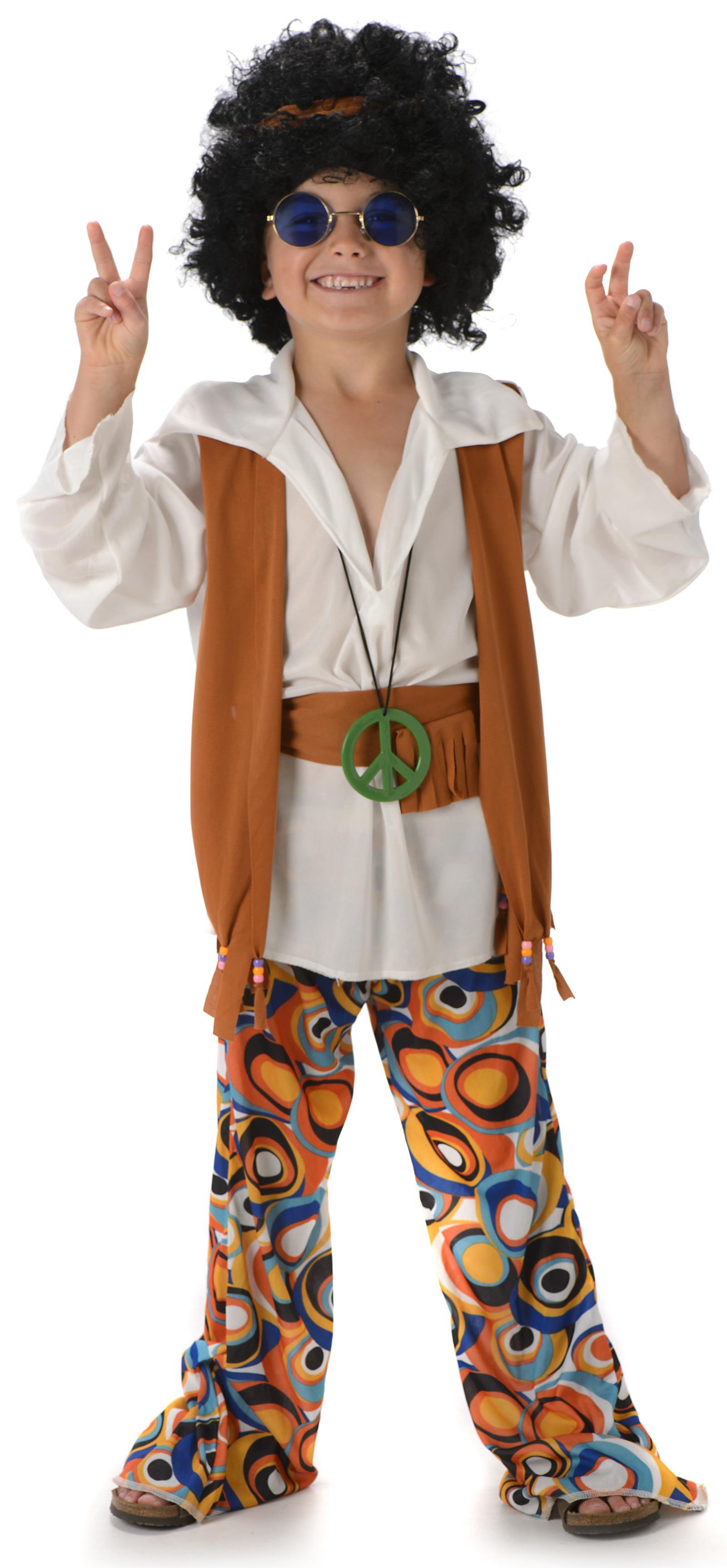 peace hippie boys fancy dress 1960s 70s kids sixties