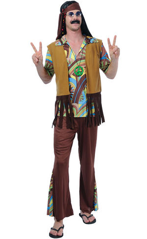 Groovy Hippie Guy Fancy Dress Costume