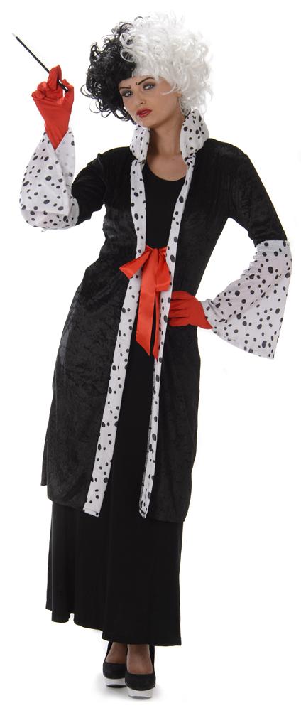 Cruella evil madame ladies fancy dress halloween villain womens adults