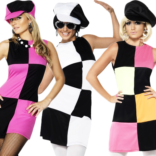 Swinging-60s-70s-Sixties-Ladies-Fancy-Dress-Costume-Outfit-Hat-8-10-12-14-16