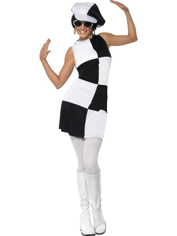Swinging-60s-70s-Sixties-Ladies-Fancy-Dress-Costume-Outfit-amp-Hat-8-10-12-14-16