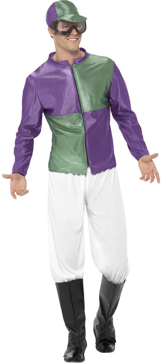 Jockey Mens Fancy Dress Horse Rider Racer Sports Uniform Adults Costume Outfit   eBay