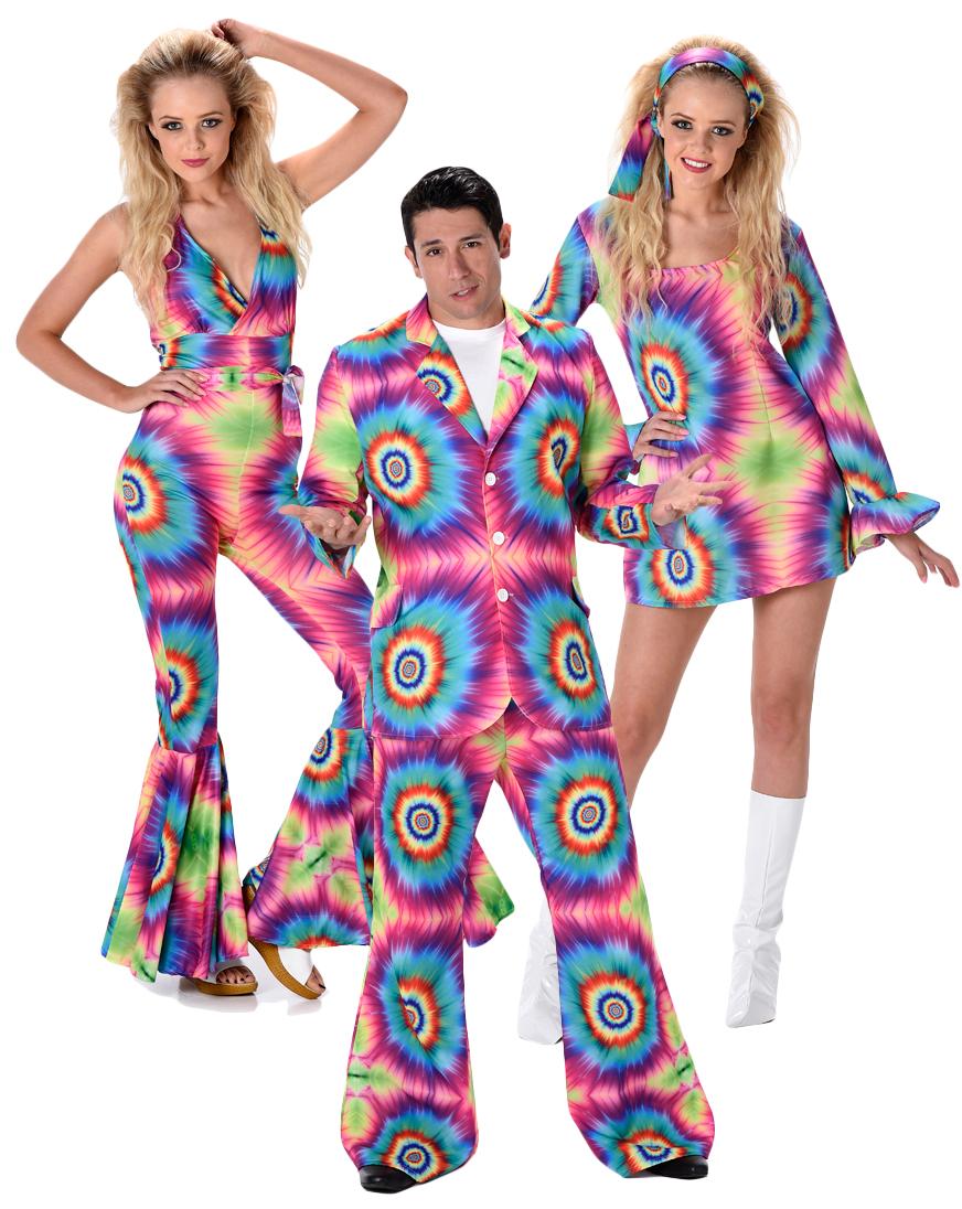 Rainbow Tie Dye Adults Fancy Dress Hippy 1970s 1960s Hippie Groovy Funky Costume | eBay