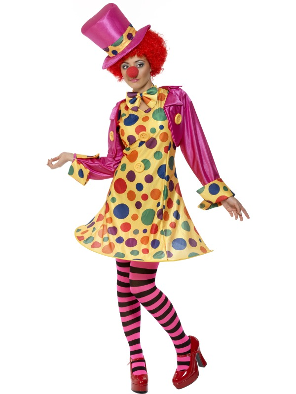 Clown-Lady-Fancy-Dress-Circus-Ladies-Costume-Wig-Nose-UK-8-10-12-14-16-18-20