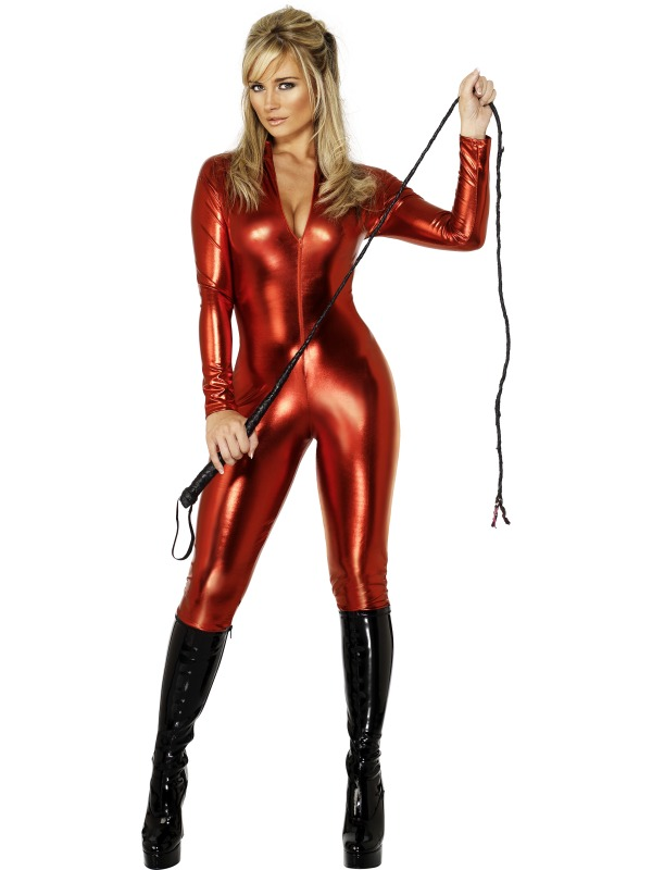 Red-Catsuit-Fancy-Dress-Halloween-Devil-Ladies-Cat-Suit-Bodysuit-Costume