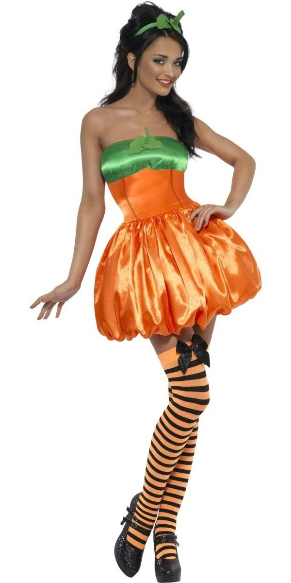 Sexy-Halloween-Pumpkin-Ladies-Fancy-Dress-Party-Costume-Outfit-Tights-8-16