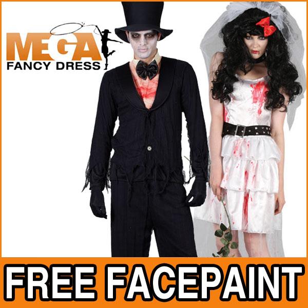 Zombie Bride Or Bridegroom Adult Mens Ladies Halloween Fancy Dress Costume