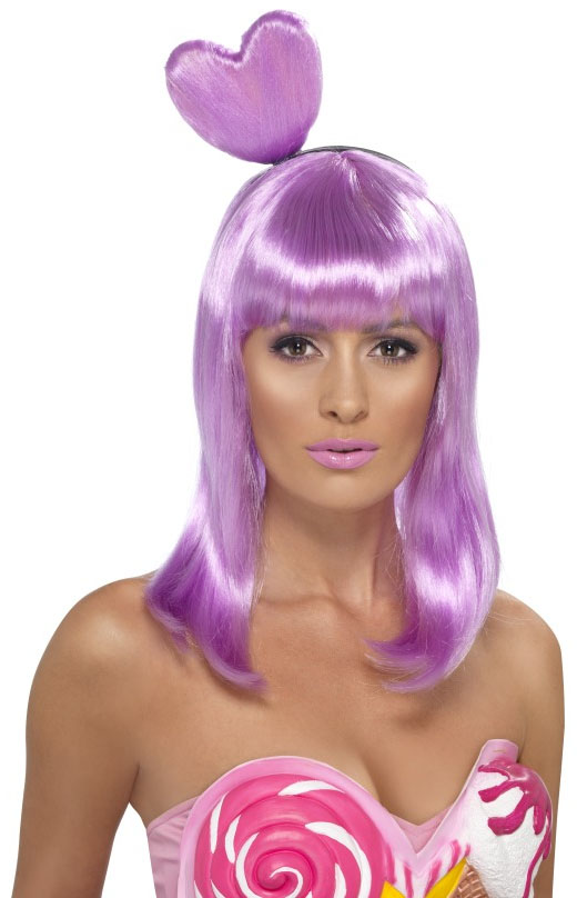 candy queen katy perry lilac wig ladies fancy dress