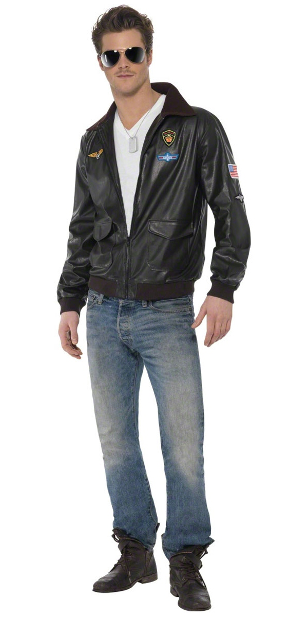 Men's Top Gun Bomber Jacket Fancy Dress Costume 1980s ...