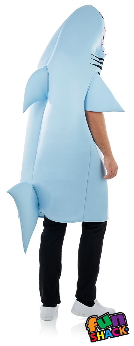Shark adults fancy dress halloween novelty sea creature for Fish costume men