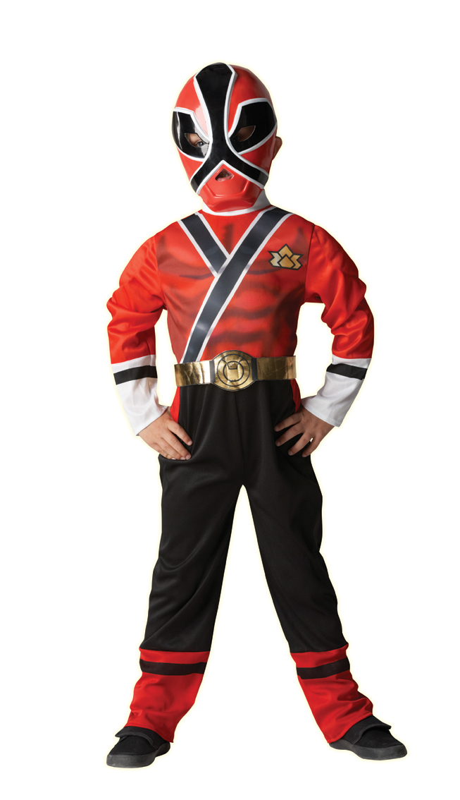 Red Power Rangers Samurai Kids Fancy Dress Boys Child Ranger Costume 3