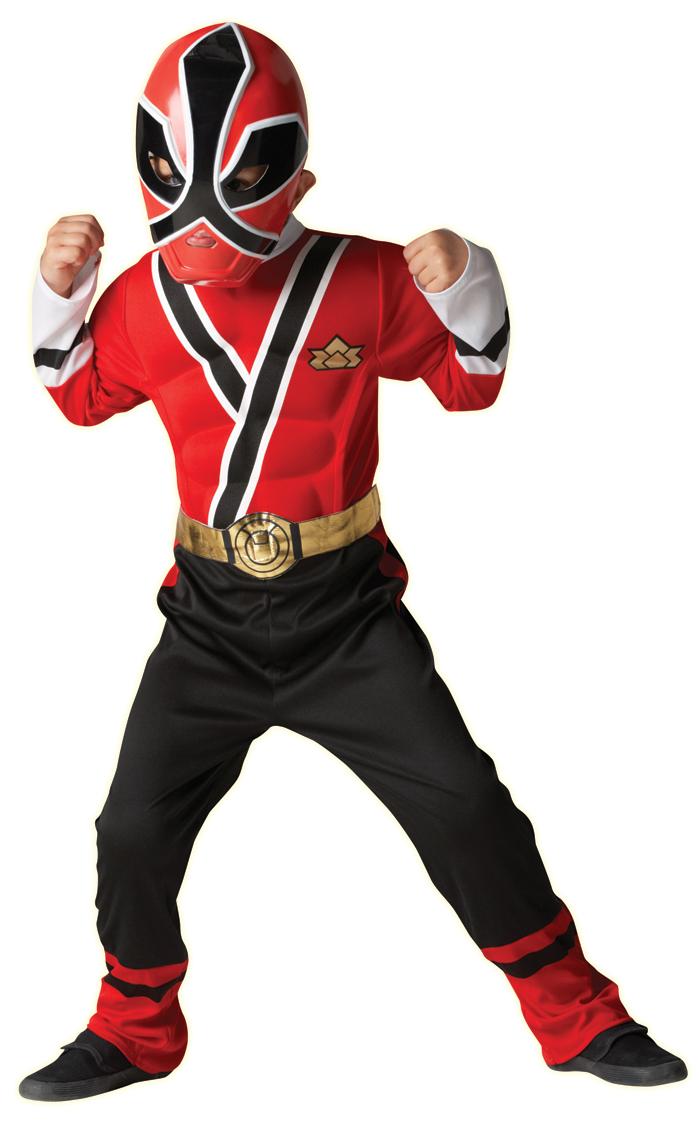 Kostüm Power Ranger Samurai Muskel Rot Kinder Jungen Verkleidung 3
