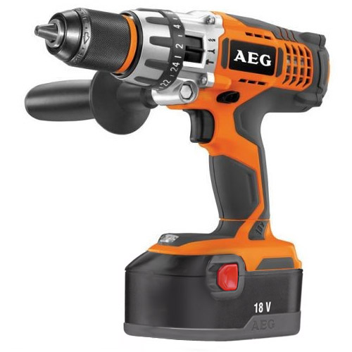 AEG Bsb18Nc 18V Cordless Combi Hammer Drill + 2 Ni-CD Batteries 2Ah And Charger