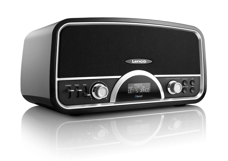 lenco dr 05 bt stereo bluetooth dab fm retro radio with usb port 30w black ebay. Black Bedroom Furniture Sets. Home Design Ideas