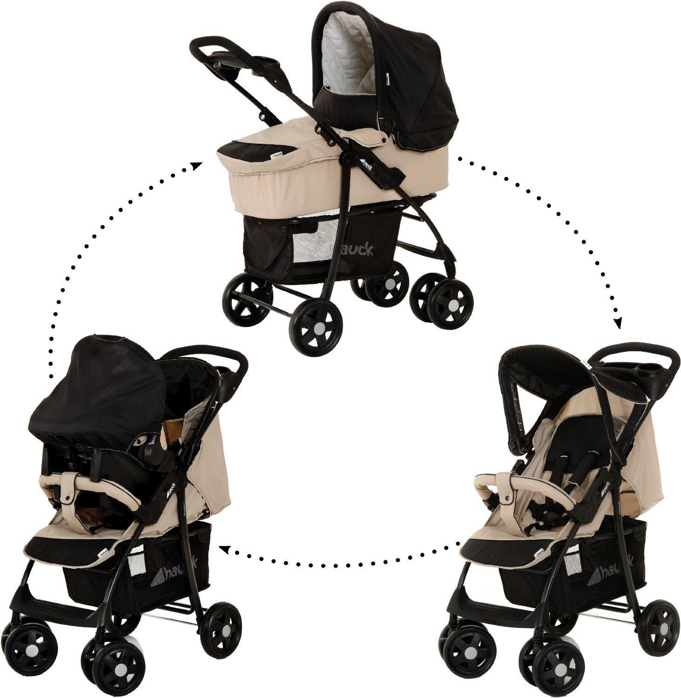 hauck pram shopper trio set stroller carrycot carseat raincover almond caviar. Black Bedroom Furniture Sets. Home Design Ideas