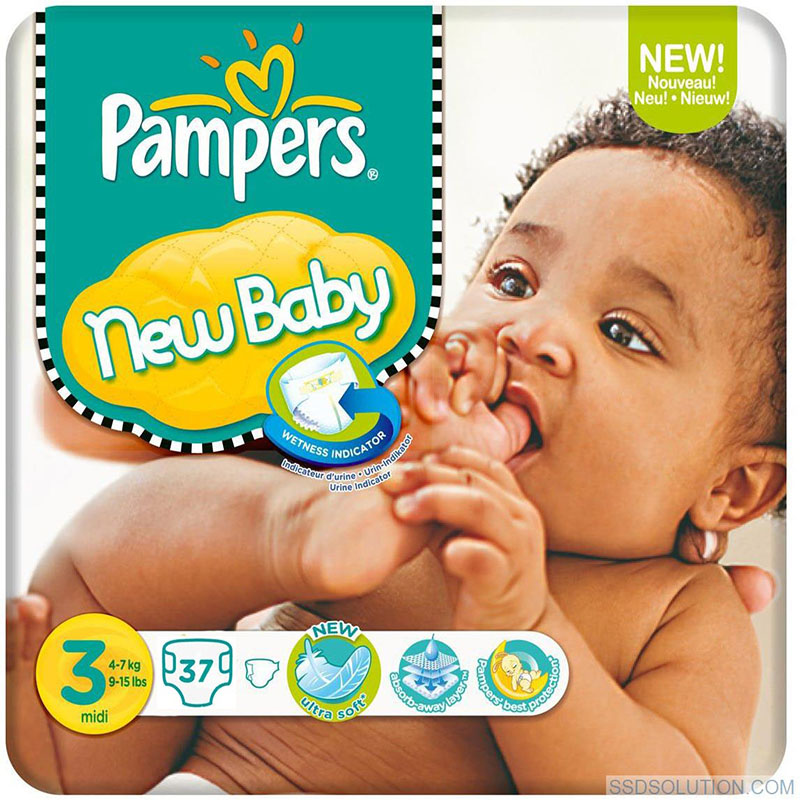pampers new baby premium protection wetness indicator size 3 nappies 37 pcs ebay. Black Bedroom Furniture Sets. Home Design Ideas