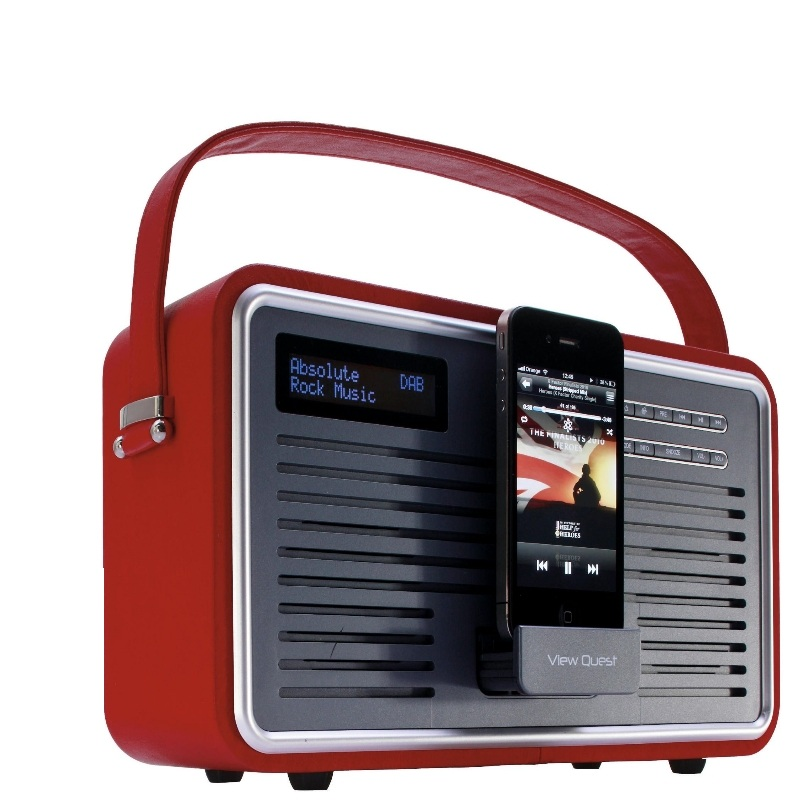 view quest red retro dab red leather dab fm radio. Black Bedroom Furniture Sets. Home Design Ideas