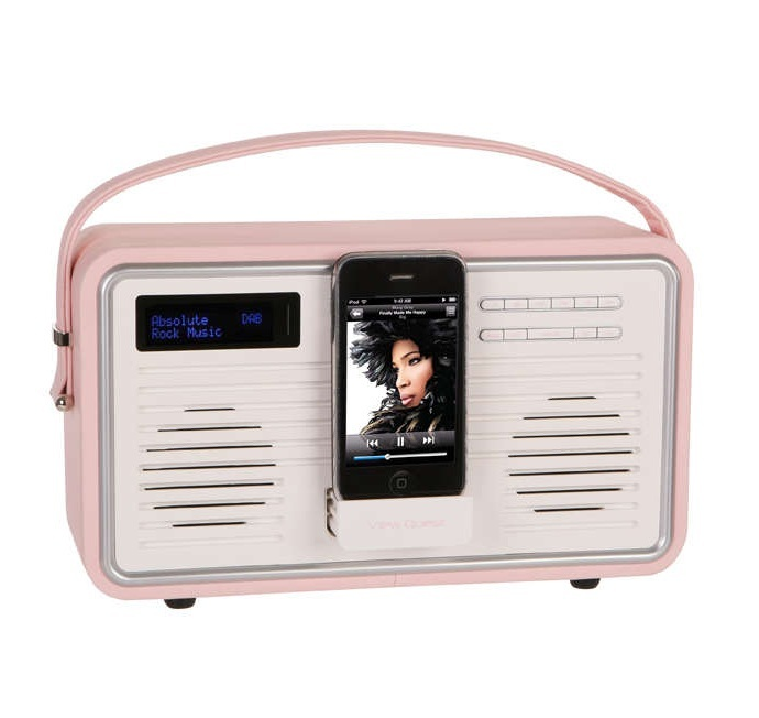view quest retro pink leather dab fm radio ipod docking station with alarm ebay. Black Bedroom Furniture Sets. Home Design Ideas