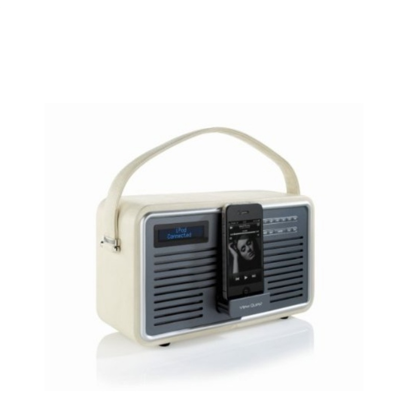 view quest retro dab cream leather dab fm radio ipod docking station alarm. Black Bedroom Furniture Sets. Home Design Ideas