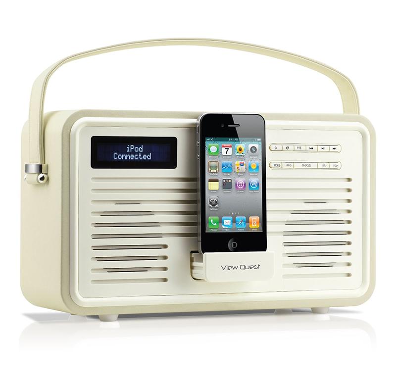 view quest retro colourgen cream dab plus radio speaker. Black Bedroom Furniture Sets. Home Design Ideas