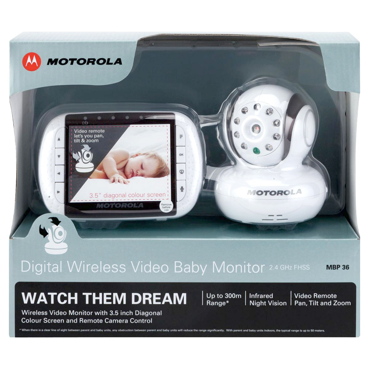 motorola mbp36 wireless baby monitor with infrared night vision and 5 lullabies ebay. Black Bedroom Furniture Sets. Home Design Ideas