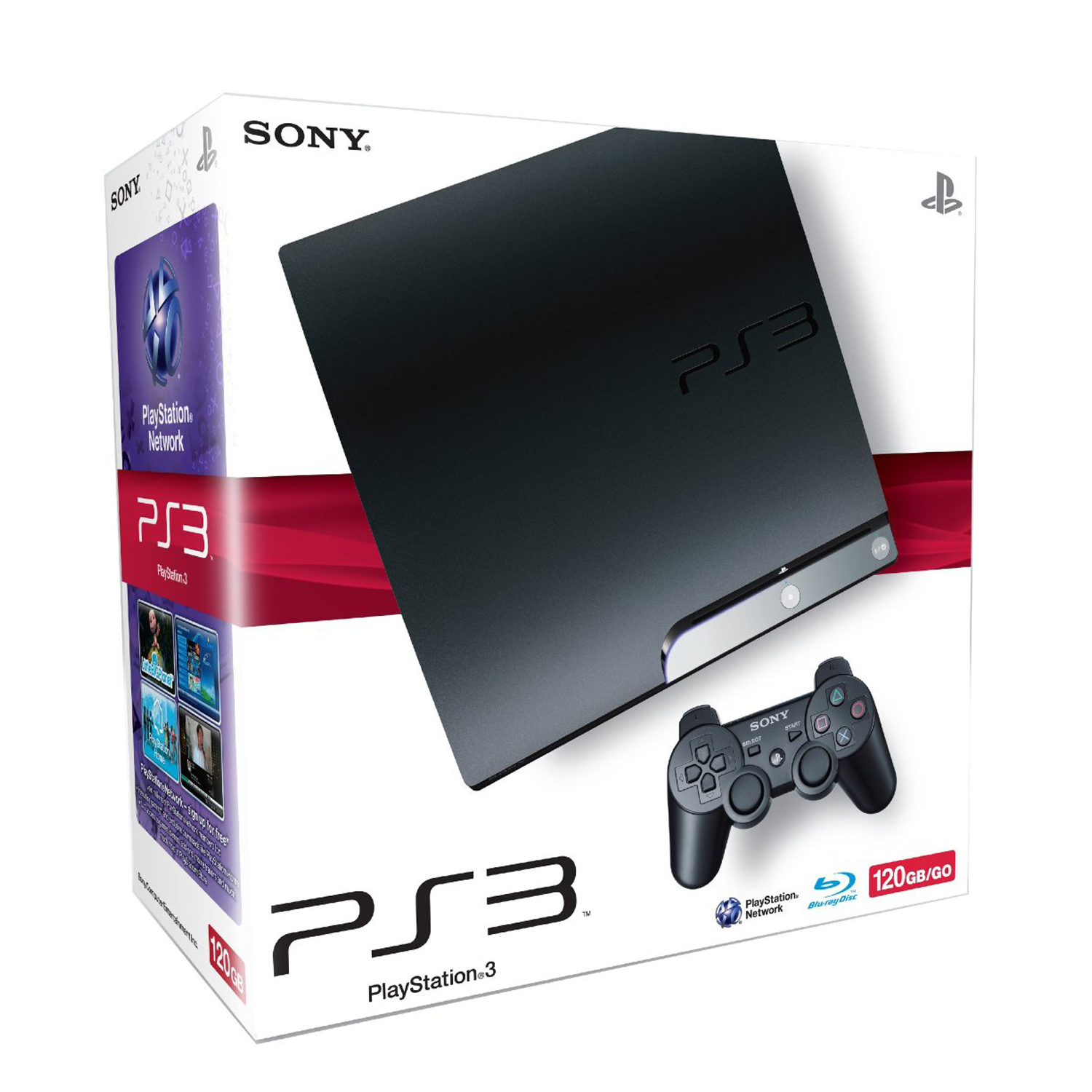 sony playstation 3 ps3 slim console black 120gb hdd built in blu ray disc player ebay. Black Bedroom Furniture Sets. Home Design Ideas