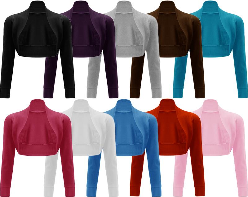 New-Womens-Long-Sleeve-Ladies-Short-Crop-Open-Shrug-Bolero-Cardigan-Top-8-14