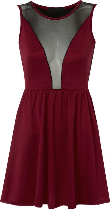 New-Ladies-Mesh-Skater-Sleeveless-Mini-Dress-Elasticated-Waist-Womens-Top-8-14