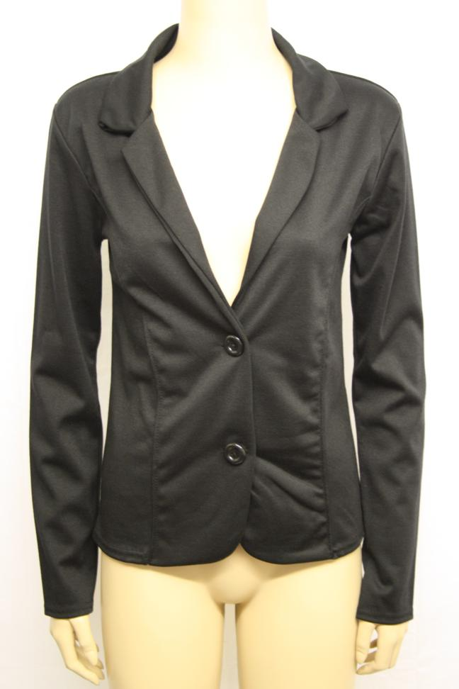Ladies-Fitted-Tailored-Button-Stretch-Short-Jacket-Womens-Long-Sleeve-Coat-8-14