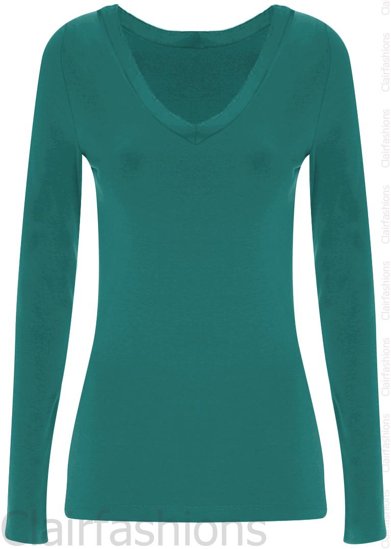 New-Womens-Plain-V-Neck-Ladies-Long-Sleeve-Stretch-T-Shirt-Top-8-14