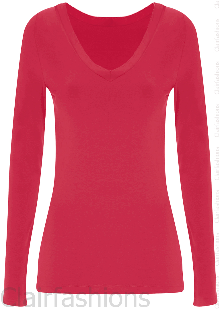 New-Womens-Plain-V-Neck-Ladies-Long-Sleeve-Stretch-T-Shirt-Top-8-14